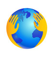 hands over world as protecting logo vector image