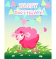 Happy birthday card with sunny meadow and pink vector image