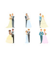 happy just married couples set elegant newlyweds vector image vector image