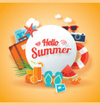 hello summer banner background template vector image