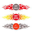 hot sale text labels flame design vector image vector image