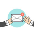 icon new mail envelope two businessman vector image vector image