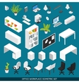 Isometric Office workplace Icon Set vector image vector image