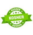 kosher ribbon kosher round green sign kosher vector image vector image