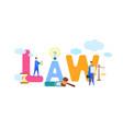 law stylized multicolor cartoon typography vector image vector image