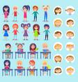 lesson in school students sitting desks set vector image vector image