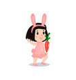 lovely little girl in the costume of pink bunny vector image