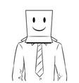 man with box happy emoji on head coloring vector image vector image