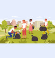 people clean summer garden helping to save nature vector image vector image