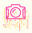 Photo camera on abstract colorful geometric light vector image