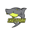 placard with hand drawn of shark with skateboard vector image vector image