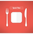 Plate fork and knife made in moder flat design vector image