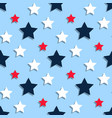 red white blue stars on a blue background vector image vector image