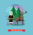 reindeer herder in flat vector image vector image