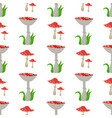 seamless pattern background amanita mushrooms vector image