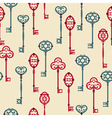 seamless pattern with cute vintage keys vector image vector image