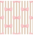 Seamless pattern with pastel pink bows on stripes vector image