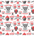 Seamless pattern with steak house symbols grill
