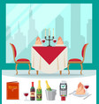 served table in restaurant in flat style cafe vector image