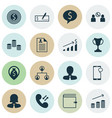 set of 16 human resources icons includes business vector image vector image
