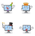 set of monitor character with clown king magician vector image vector image