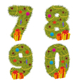 set of numbers Christmas tree from 7 to 9 vector image vector image