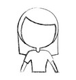 sketch draw women upperbody cartoon vector image