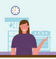 smiling woman in the kitchen vector image
