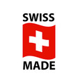 swiss made logo - icon with wavy flag of vector image vector image