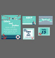 wedding invitation cards set nautical style vector image vector image