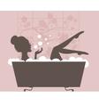 Beautiful woman taking a bath vector image