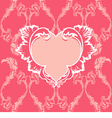 Heart with floral pattern on vintage background vector image