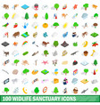 100 widlife sanctuary icons set isometric style vector image vector image