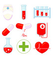9 medical icon colorful cartoon set vector image