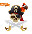 a pirate skull with crossed swords or sabres in a vector image