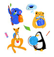 animals students - flat design style set of vector image vector image