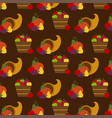 autumn fruit and cornucopia pattern vector image vector image