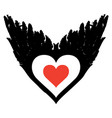 banner with abstract flying heart with black wings vector image vector image