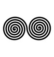 black double spirals simple abstract ornamental vector image