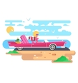 Blonde in a cabriolet on vacation vector image vector image