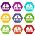 brain idea icons set 9 vector image vector image