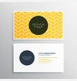 business card design in yellow pattern vector image vector image