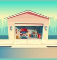 cartoon mechanic workshop with car garage vector image