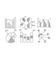 charts diagrams graphs arrows monochrome hand vector image vector image