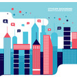 city social network urban landscape filled with vector image vector image