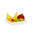 colorful fruit in plastic container isolated over vector image