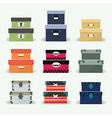 Colorful organizer boxes icon sets on gray