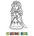 coloring book of beauty fairy queen or princess vector image vector image