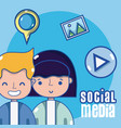 couple and social media vector image