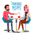 couple in restaurant friends or boyfriend vector image vector image